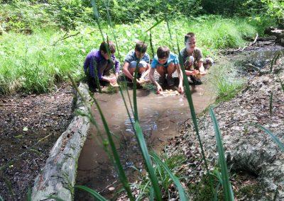 Ein kleiner Bach lädt zum Matschen und Bötchen schwimmen lassen ein.